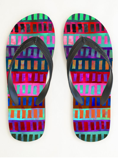 MY WORK | Geometric bright flip flop