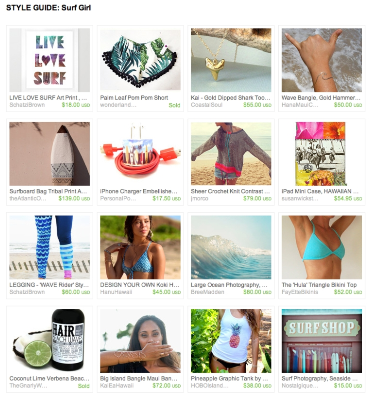 Style Guide - SURF GIRL - ETSY FINDS